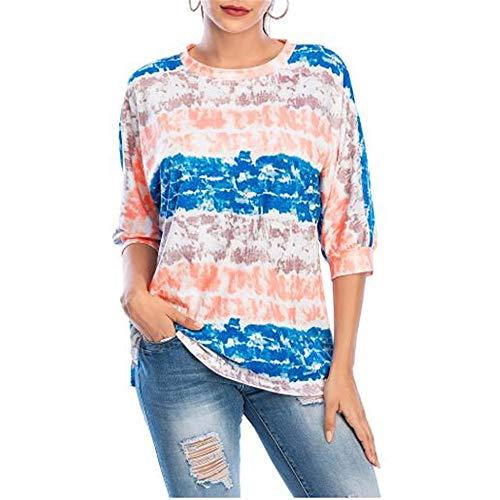 Camiseta De Manga Larga De Verano De Siete Puntos con Cuello Redondo Camisa De Mujer De Gran TamañO Informal Urbana A Rayas Sueltas
