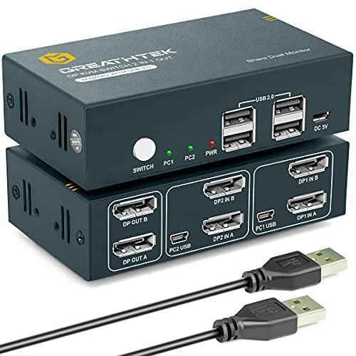 KVM Switch DisplayPort Dual Monitor 4K@60Hz,USB2.0,DP 1.2, KVM Switch 2 Monitore DisplayPort,2 PC 2 Monitor, Button Switch, 2 In 2 Out, mit 4 DP und 2 USB Kabel