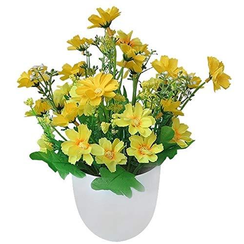 U/D Künstliche Pflanzen Gefälschte Pflanzen künstliche Blumen Leuchtende Farbe Naturgetreue Chrysantheme Topfpflanzen Hauptdekorationen (Color : Gelb, Size : Kostenlos)