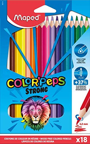Maped Color'Peps-12 kleurpotloden, zeer robuust en ergonomisch, doos met 12 stiften van kunsthars, 862712 18