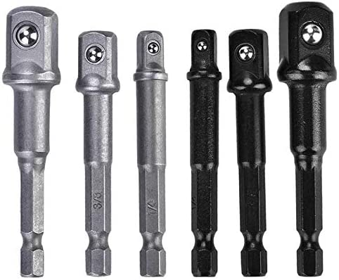 Zrong 3Pcs Drill Socket Adapter 1//4Hex Shank to 1//4 3//81//2 Inch for Drill Driver Color : Silver