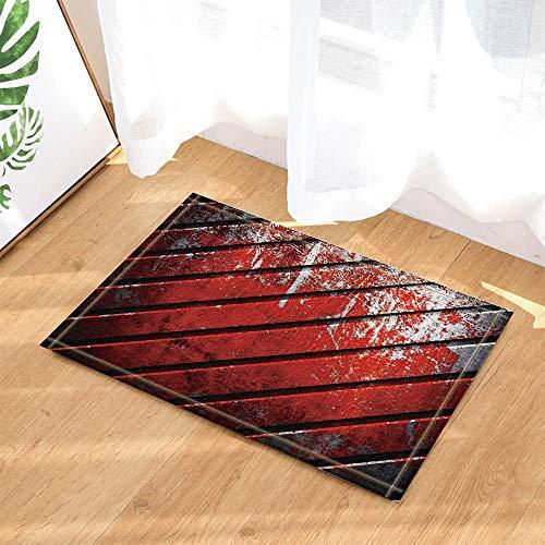 JYEJYRTEJ Holzverkleidung mit Heller Farbe rot Indoor Fußmatte für Bad,Küche,rutschfeste Matte,50 * 80cm,Heimtextilien