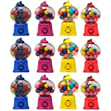 Kicko Mini Gumball Dispenser Keychain with Gumballs Included - 12 Pack - 4 Inch - Small Backpack Hook - Keyring for Bag and Belt Loop Accessory