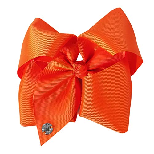 JOJO Siwa, Orange Bow 8 Inch Wide Metal Salon Boutique Clip Barrette Cheer Ribbon Layered Fabric Handmade Bows Easy to Wear Clips with Signature Pin Beauty Personal Care Hair Accessories, Tangerine