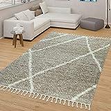 TT Home Skandi - Alfombra de salón, color beige y crema, pelo largo, diseño de rombos, resistente, suave, tamaño: 160 x 220 cm