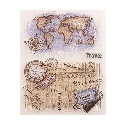 wiFndTu Transparente Stempel DIY Globus Papier Craft Clear TPR Stempel Siegel DIY Stempel Druck Prägung Stempel für DIY Scrapbooking Album Foto Karte Handwerk Tagebuch machen Grußkarten Dekor