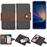 K-S-Trade® Handy-Hülle Schutz-Hülle Bookstyle Wallet-Case Für -Hisense A2 Pro- Bumper R&umschutz Schwarz-braun 1x