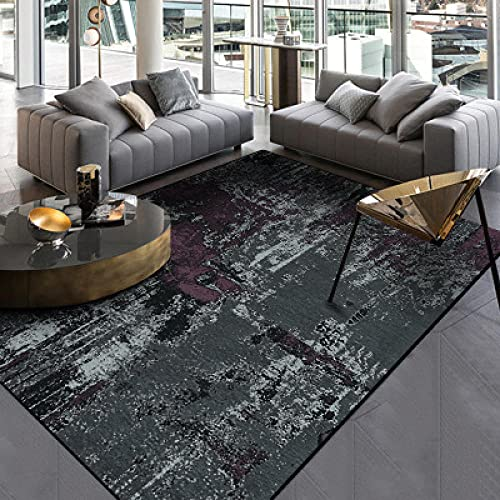 Stora mattor Runner Modern Designer Rug Mörkgrå lila cement Traditionellt hållbart fashionabelt enkelt underhåll 160×230CM(5ft3x7ft8)