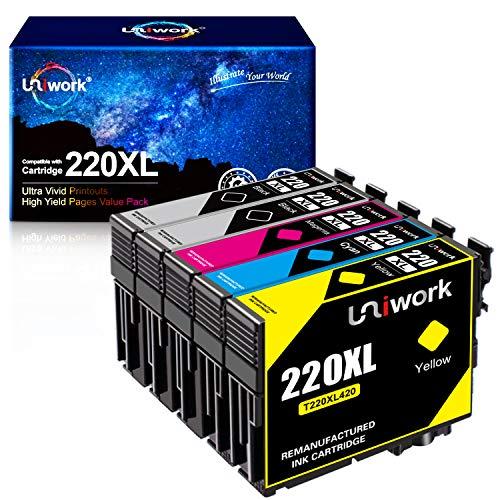 Uniwork Remanufactured Ink Cartridge Replacement for Epson 220 XL 220XL T220XL use for WorkForce WF-2750 WF-2760 WF-2630 WF-2650 WF-2660 XP-320 XP-420 Printer (2 Black 1 Cyan 1 Magenta 1 Yellow)