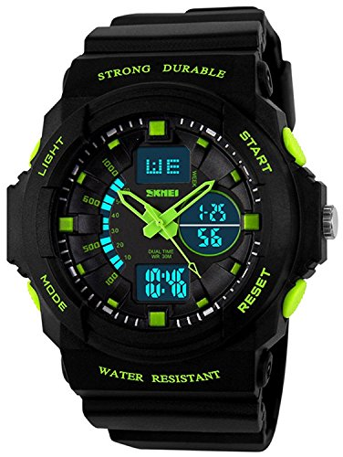 Fanmis Digital Fashion Cobra Men's LED Watch Silicone Iron Triangle Dial Sports Wristwatch (Green)