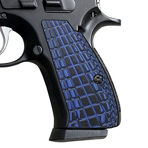 Cool Hand CZ 75 Compact Slim G10 Blue Black Grenade Texture Grips, Blue/Black, Compact