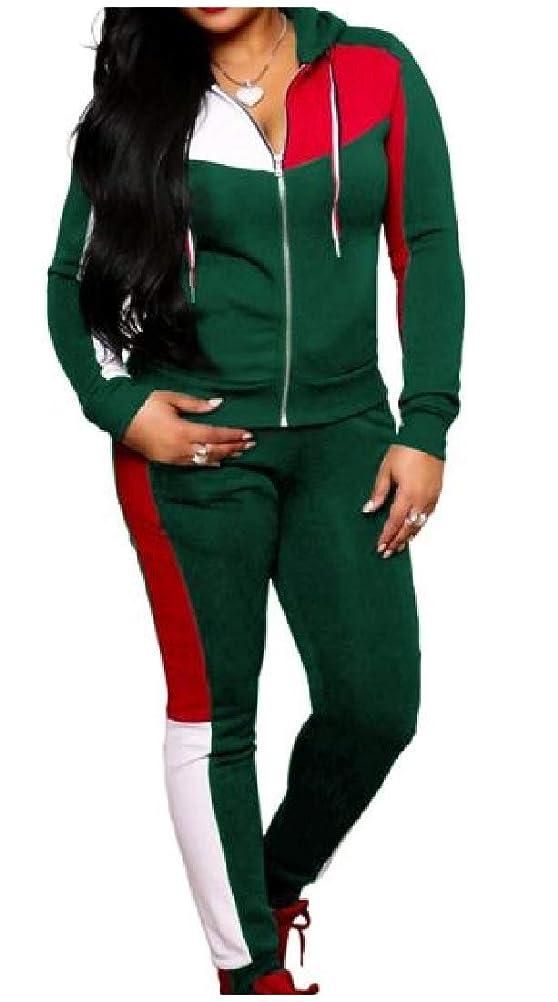 受け入れたひねり冒険女性フルジップフード3色スパンコールトラックスーツトップスポーツバギーパンツアウト
