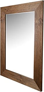ArtMaison Beveled Hanging Wall Mirror with Hand Stained Pine Frame, 34-Inch by 46-Inch