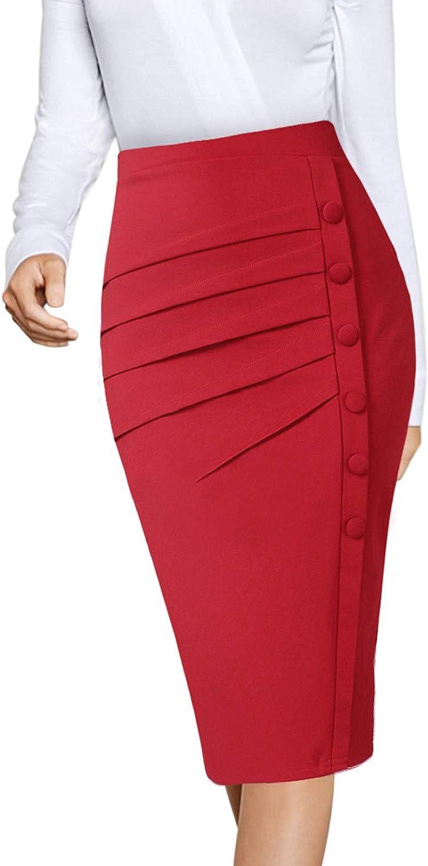 Vfshow Womens Pleated Buttons High Waist Wear to Work Office Pencil Skirt