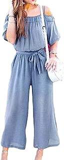 FSSE Women Cold Shoulder High Waisted Short Sleeve Wide Leg Jumpsuit Romper