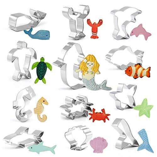 GWHOLE 12 x Ausstechformen Edelstahl Ausstecher Set Meerestiere Meerjungfrau für Keks, Plätzchen, Tortendekorationen