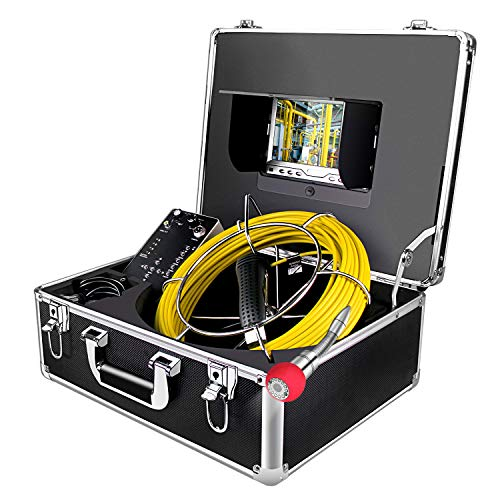 Endoscope Camera, 50M/165ft Pipe Camera 7 inch LCD Monitor Scope CameraDuct HVAC 1000TVL Sony CCD Borescope Sewer Camera Waterproof IP68Pipeline Inspection Snake Cam (7D1N-50M-With DVR)