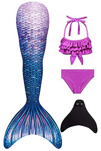 Decool 2020 Neu Mädchen Meerjungfrau Schwanz Badeanzug - Prinzessin Cosplay Bademode für das Schwimmen mit Bikini Set und Monoflosse, 4 Stück Set