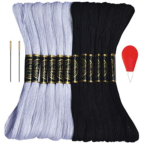 Premium Embroidery Floss-Cross Stitch Threads-Friendship Bracelets Floss-Crafts Floss-Black,White-Hand Embroidery Thread 12 Skeins Per Pack and Free Set of 2 Embroidery Needles and 1 Needle Threader
