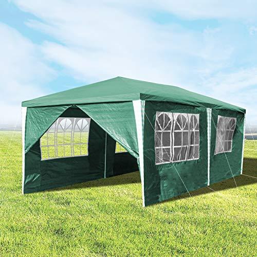 Hengda 3x6m Pavillon Grün Partyzelt UV-Schutz Material PE-Plane Hochwertiges GartenPavillon mit 6 Seitenteilen für Hochzeit Party Garten Camping