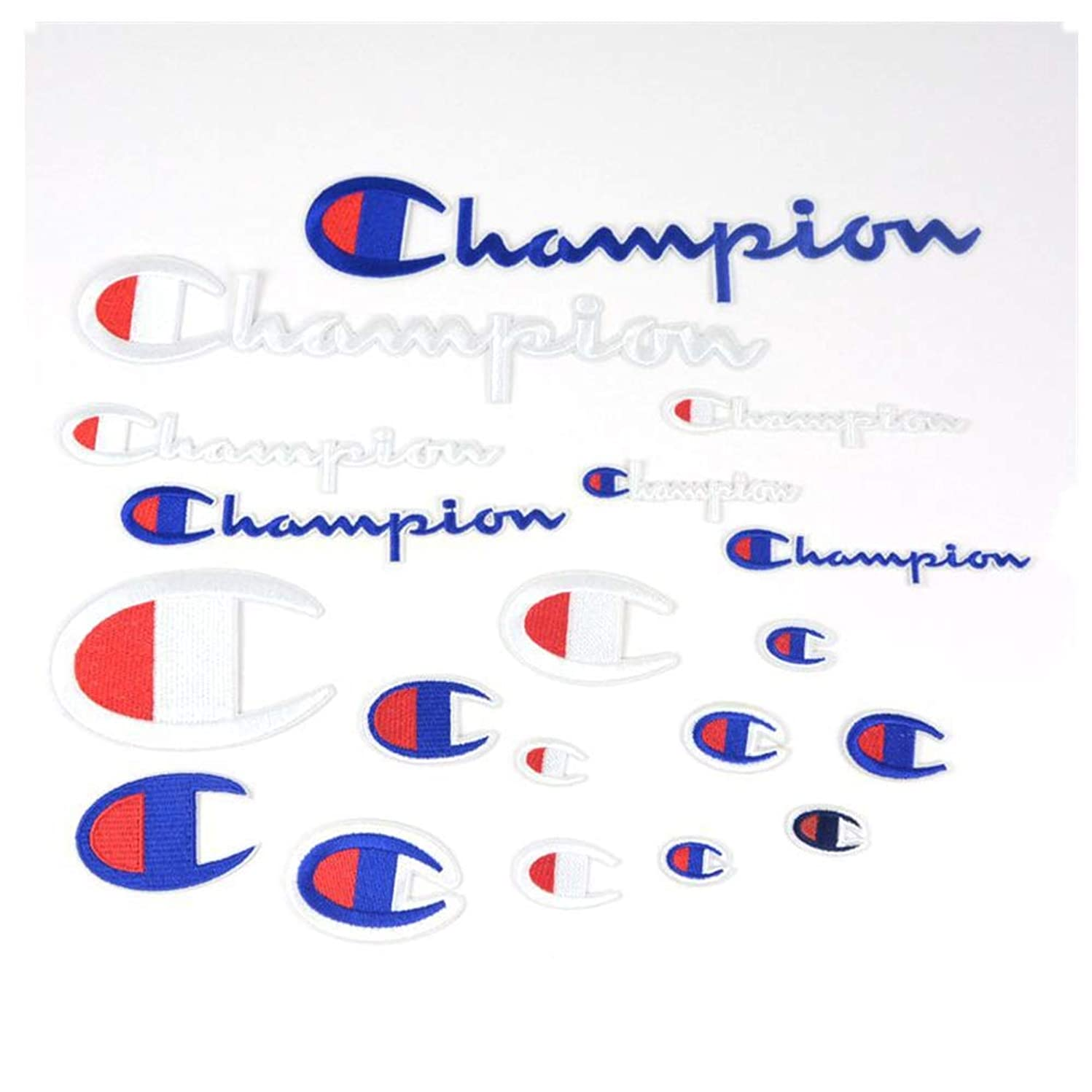 19 Pack Champion Patches Multi Size Patch Set Sew on or Iron on Embroidered DIY Applique Emblem Badge Decorative