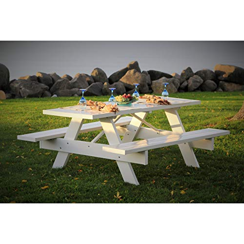 Dura-Trel, Inc. Picnic Table w Benches in White Finish (96 in.)