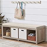 300 lbs. Weight Capacity BHG Transitional Style Organizer Bench 4-Cube Storage in Rustic Gray