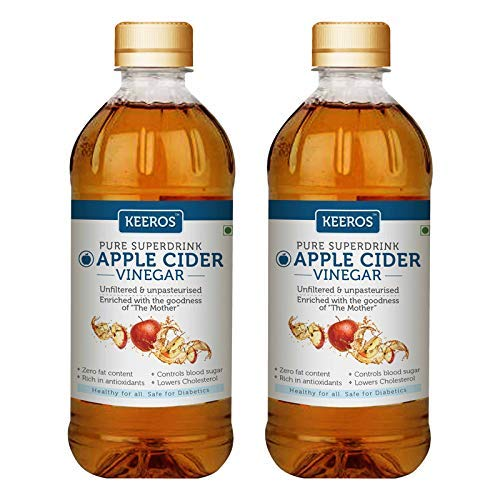 Apple Cider Vinegar with Mother Vinegar - 100% Natural Raw Unfiltered & Unpasteurised ( Good Health Good for healther Health Drink for Glowing Skin & Hair Growth) - 500ml x Pack of 2