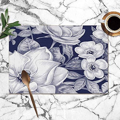 yyndw Kitchen Placemats Natural Texture Blossom Black Nature Printing Manteles Individuales para...