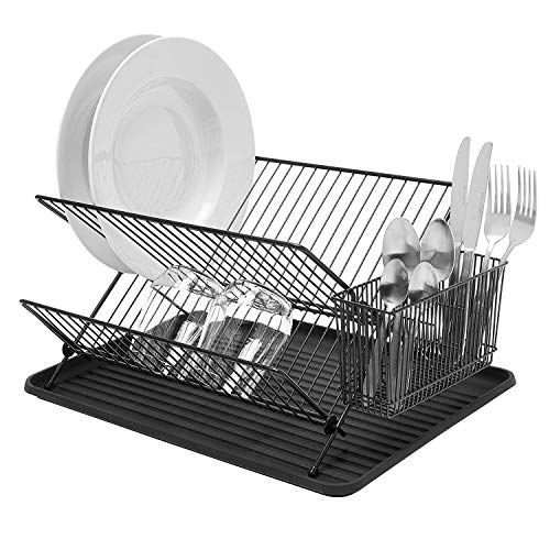 simplywire - Folding Dish Drainer - Plate Drying Rack with Cutlery Holder - Black