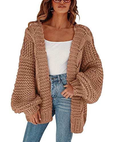 MEROKEETY Womens Open Front Cardigans Long Sleeve OversizedChunky Cable Knit Sweater Outwear Coat Khaki
