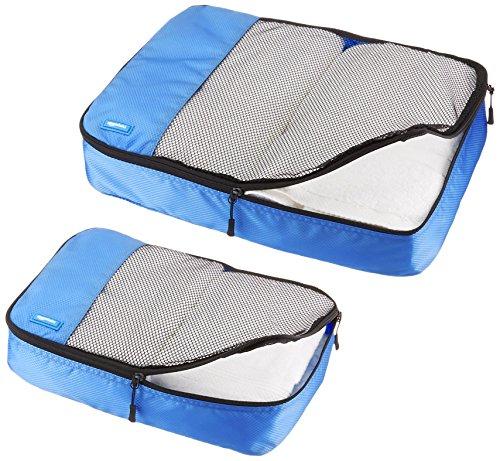 51aN6skjukL - AmazonBasics - Bolsas de equipaje (2 medianas, 2 grandes; 4 unidades), Azul