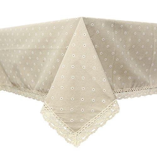 Coton Lin Daisy nappes de dentelle rectangulaire Chiffon de table de fête de mariage, Tissu, blanc, 140*140CM