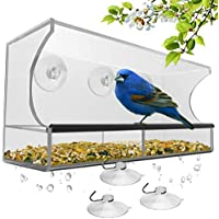 Nature's Hangout Window Bird Feeder with 3 Extra Strong Suction Cups and Seed Tray