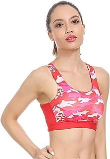 BaronHong Petite Women Camo Strap Sports Bras - High Impact Workout Gym Activewear Bra