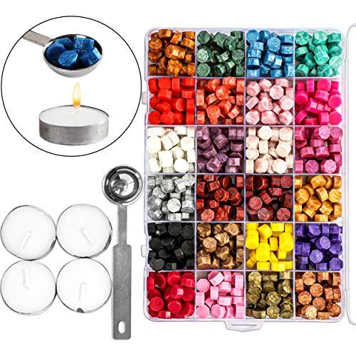 Octagon Wax Sealing Bead Kit (24 Colors, 655 Pieces)