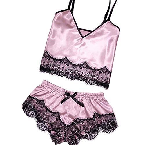 Bfmyxgs Frauen Sexy Dessous Spitze Bowknot Nachthemd Unterwäsche Mode Satin Sling Nachtwäsche Stilvolle Höschen Eingewickelt Brust...