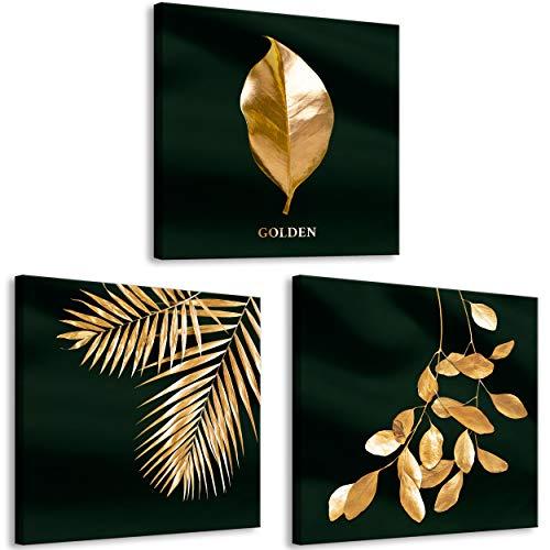 decomonkey Bilder Goldene Blätter 150x50 cm 3 Teilig Leinwandbilder Bild auf Leinwand Vlies Wandbild Kunstdruck Wanddeko Wand Wohnzimmer Wanddekoration Deko Gold Pflanzen Schwarz