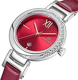 Naviforce Women's Red Dial PU Leather Analog Watch - NF5007-SRR