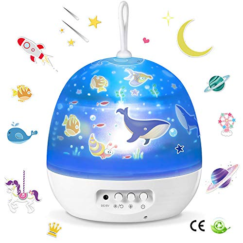 Night Light Kids Star Projector Light Biaoyu 4 Themes 8 Lighting Modes 360 Degree Rotating for Baby Nursery Kid Room Decor Ideal Gift for Boys and Girls- White