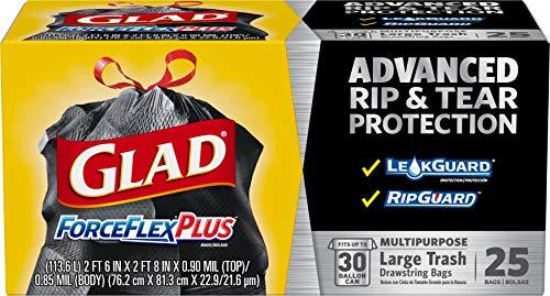 Glad Large Drawstring Trash Bags ForceFlexPlus 30 Gallon Black Trash Bag - 25 Count