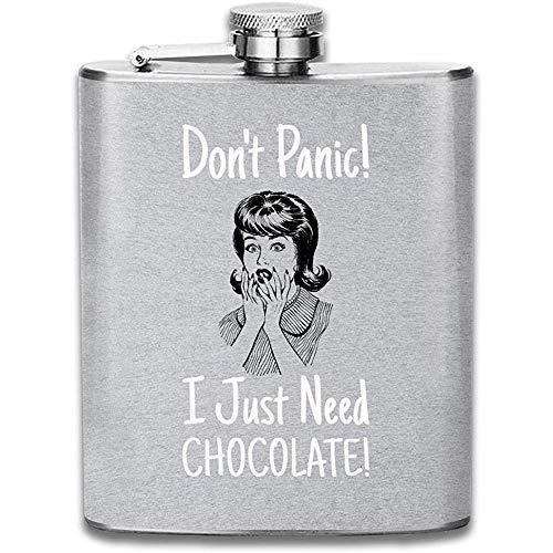 Keine Panik Ich Brauche Nur Schokolade Retro Comic Frau Print Flachmann Tasche Flasche Flagon Portable Edelstahl Flagon 7OZ