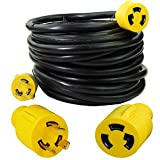 Leisure Cords 3-Prong 50 Foot 30 Amp Generator Cord, 10 Gauge Heavy Duty L5-30 Generator Power Cord Up to 3750W (50-Feet)
