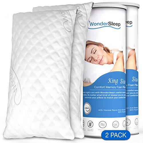 WonderSleep Premium Adjustable Loft [King Size 2-Pack] - Shredded Hypoallergenic Memory Foam Pillow for Home & Hotel Collection + Washable Removable Cooling Bamboo Derived Rayon Cover - 2 Pack King