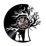 Dwqlx Cats In Love Under A Tree of Life Wall Art Reloj De Pared Moderno Under A Tree Vinyl Record Clock Kittens Cat Pet Lovers Gift