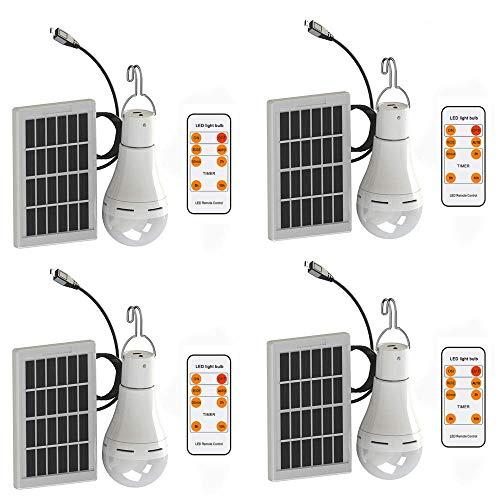 Mengjay Bombilla de luz solar LED 9W Lámpara led portátil Lámpara solar...