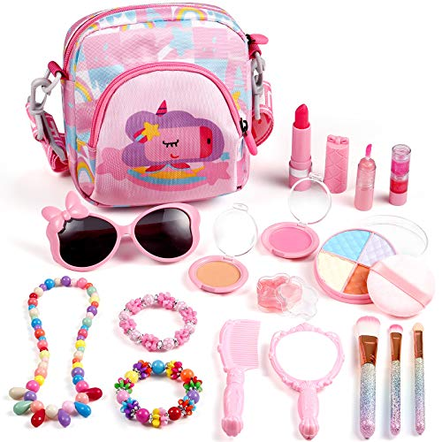 Biulotter 17 Pcs Kids Makeup Kit for Girls, Washable Makeup Toy Set with Cosmetics Bag, Safe & Non-Toxic,Real Cosmetic Beauty Set for Kids Play Game Christmas Birthday Party