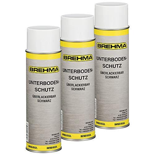 BREHMA 3X Unterbodenschutz Steinschlagschutz Spray schwarz 500ml überlackierbar