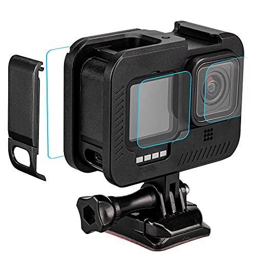 Lammcou Marco para Hero9, armazón de Aluminio para vlog con Adaptador de Zapata, Protector de Pantalla, Tapa del Compartimento de la batería, Tapa de la Lente y Soporte Compatible con GoPro Hero 9