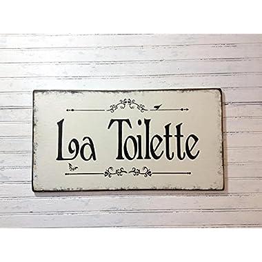 La Toilette cottage chic sign, bath decor, powder room, garden bath, bathroom plaque, french bath sign, rustic chic, spa sign, spa decor 20  x 11